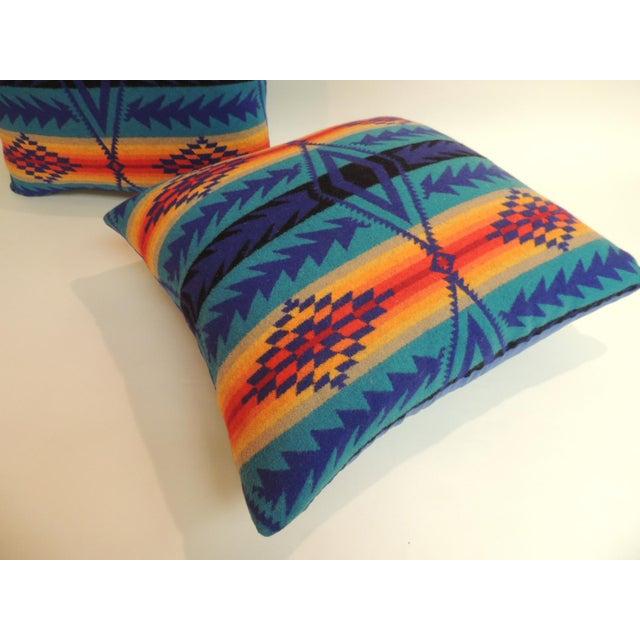 Boho Chic Pair of Vintage Pendleton Southwest Style Large Decorative Pillows For Sale - Image 3 of 6