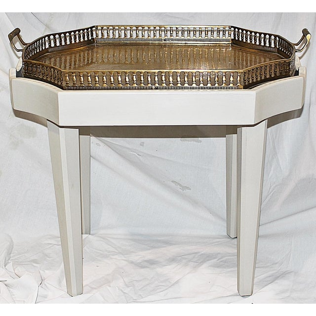Asian Ivory Chinoiserie-Style Brass Tray Cocktail Table For Sale - Image 3 of 7