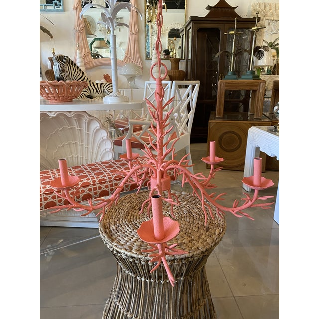 Vintage Palm Beach Metal Coral 5-Light Chandelier For Sale In West Palm - Image 6 of 12
