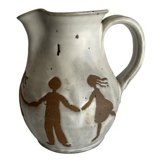 Joyful Rustic Handmade Earthenware Potter Pitcher For Sale