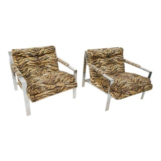 Cy Mann Lounge Chairs in the Style of Milo Baughman, Set of Two For Sale