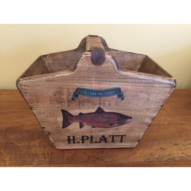 Vintage Mid-Century English Wooden Basket / Fishmonger For Sale - Image 4 of 7