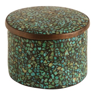 Turquoise Mosaic & Brass Trinket Box For Sale