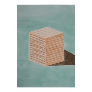 Green and Orange Brick, Hand-Painted Watercolor on Paper, 40x28 In. (100x70cm), by Artist Ryan Rivadeneyra For Sale