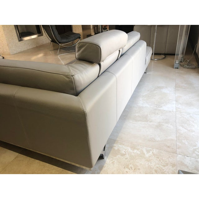 2010s Modern Roche Bobois Gray Leather Sectional Sofa For Sale - Image 5 of 11