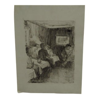 """Tomasello Original """"At the Diner"""" Matted Black & White Monotype For Sale"""