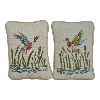 Vintage Needlepoint Pillows Ducks in Flight- a Pair For Sale