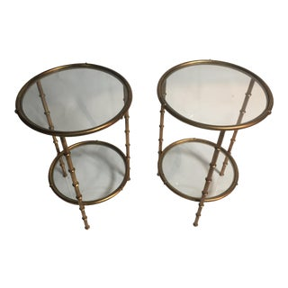 French Style Gilt Tall End Tables - a Pair For Sale