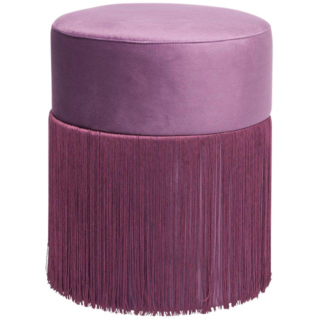 New Pouf Pill Purple in Velvet Upholstery With Fringes by Houtique For Sale