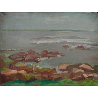 """1944 """"Rocks Along Shore"""" Painting by Anders Aldrin For Sale"""