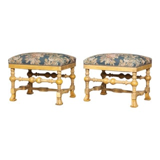 Late 20th Century William and Mary Style Yellow-Painted Stools - a Pair For Sale