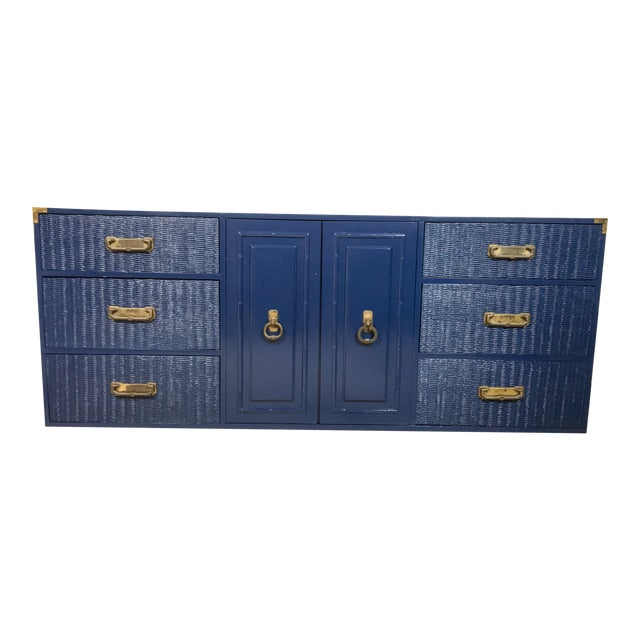 1960's Campaign Style Navy Lacquered Credenza For Sale