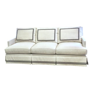 "Custom 82"" Ivory Crypton Sofa With Custom Tape Detail For Sale"