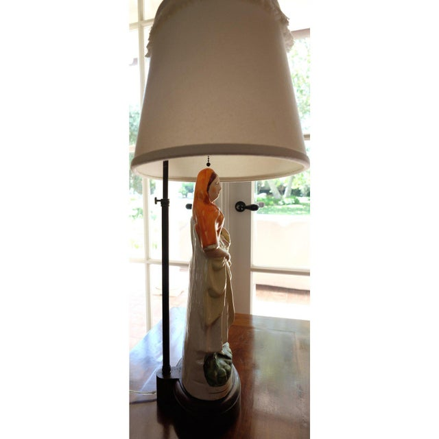 Antique English Staffordshire Ceramic Table Lamp For Sale - Image 4 of 6