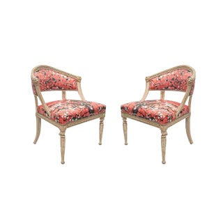 Pair of Baltic Neoclassic Swedish White-Painted Chairs For Sale