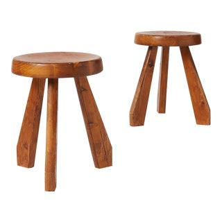 "Pair of ""Sandoz"" Stools in Pine by Charlotte Perriand For Sale"