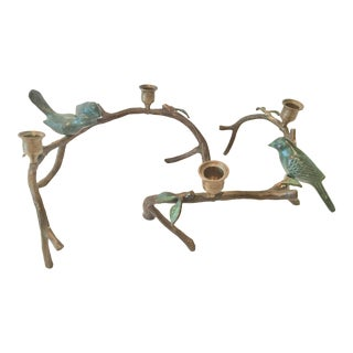Vintage Iron Centerpiece Candle Holders With Birds and Branches - a Pair For Sale