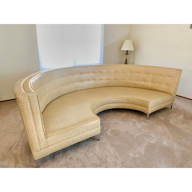 Modern Semicircular Butter Sofa With Alligator Embossment For Sale - Image 3 of 13