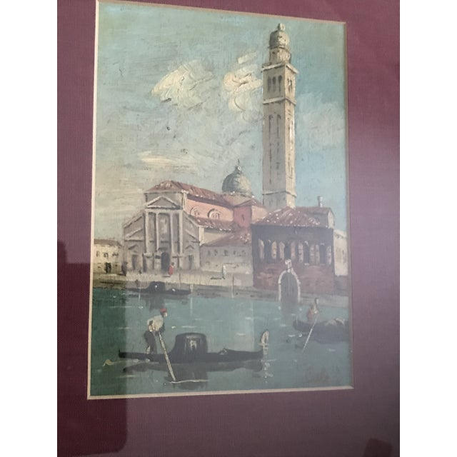 """Italian Vintage Venice Oil Painting - in Gold Frame , Signed """"Cole"""" For Sale - Image 3 of 3"""
