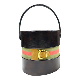 Gucci Style Stripe Brown Faux Leather Champagne Ice Bucket For Sale