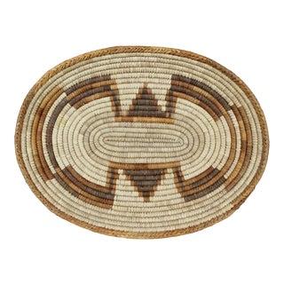 Vintage Woven Coil Basket Bowl Orange Brown Geometric Oval Handmade For Sale
