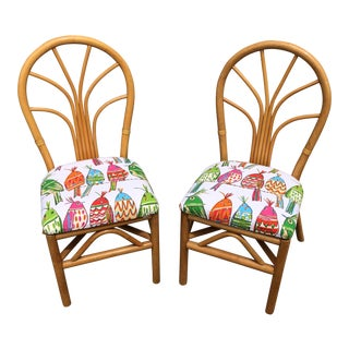 Vintage Bamboo Bird Motif Upholstery Chairs - a Pair