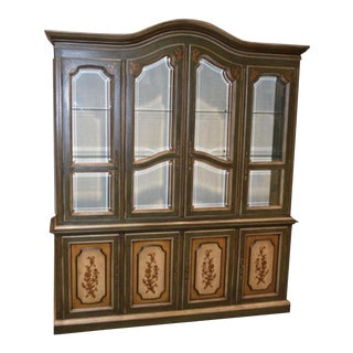 Vintage Italian Drexel Two Piece China Cabinet For Sale