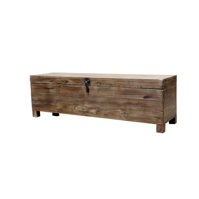 Vintage Natural Teak Box Bench - Image 2 of 2