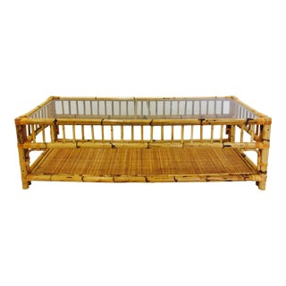 Vintage Scorched Bamboo & Rattan Coffee Table