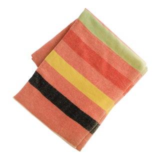 Wool Salmon Striped Pendleton-Style Blanket