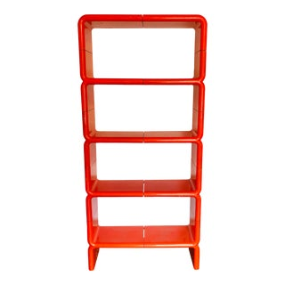 1970s Directional Orange Umbo Modular Shelving System-Set of 10 For Sale