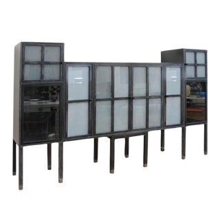 Pace Cerused Ash and Sandblasted Glass Cabinet For Sale