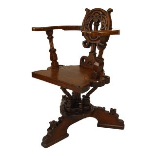 English Arts and Crafts Oak Swivel Chair For Sale