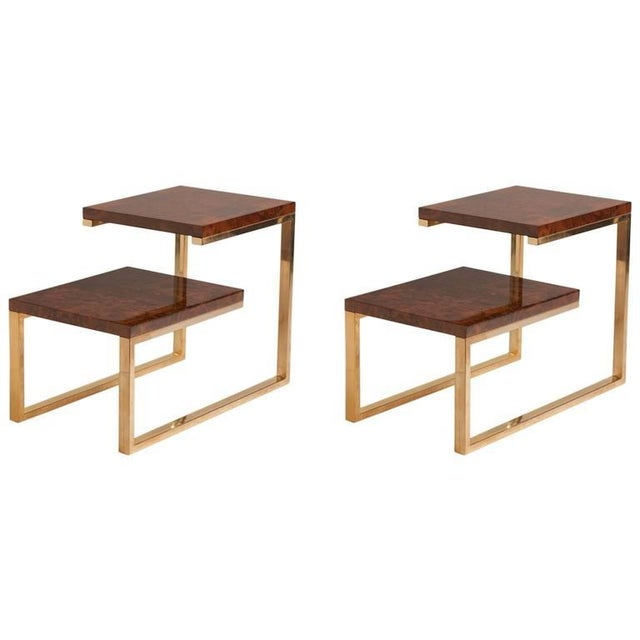 Pair of French Bronze and Lacquered Burled Wood Side Tables - Image 3 of 3