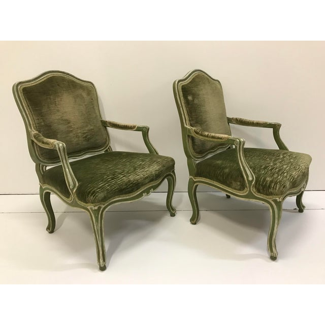 Rustic European Vintage Louis XV Revival Green Velvet Bergere Chairs Cabriole Leg Scroll Foot Painted Mahogany Country French - a Pair For Sale - Image 3 of 8