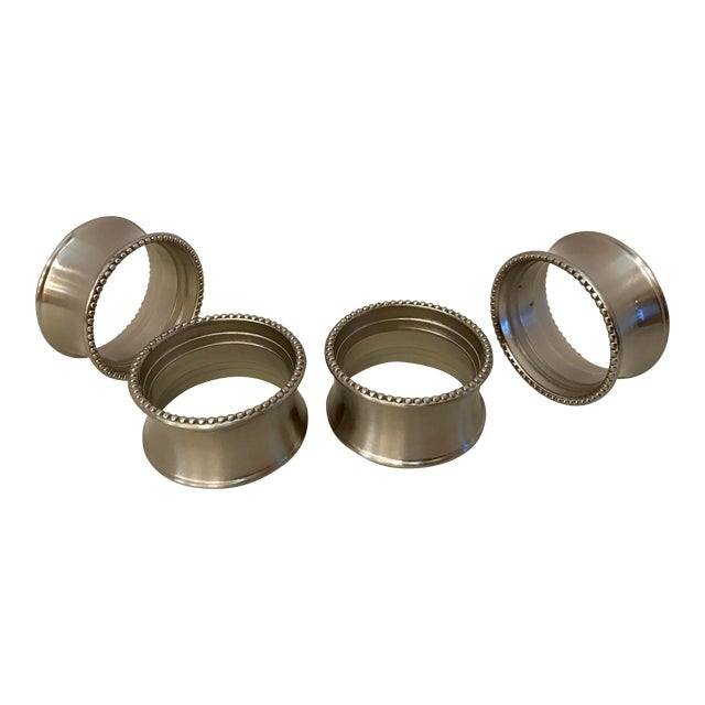 Late 20th Century Vintage Stainless Steel Napkin Rings - Set of 4 For Sale