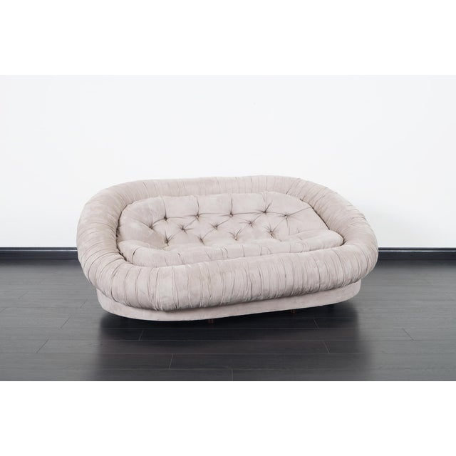 """Fabulous vintage suede """"Cloud"""" loveseat. Made in Italy."""