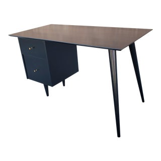 Paul McCobb Planner Group Black Lacquered Desk For Sale