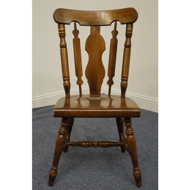 Late 20th Century Temple Stuart Solid Hard Rock Maple Colonial Style Splat Back Dining Side Chair 814 For Sale - Image 5 of 11