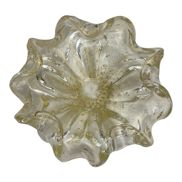 Murano Gold Fleck Glass Bowl For Sale