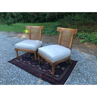 Mid Century Bull Horn Slipper Cane Chairs- A Pair Preview