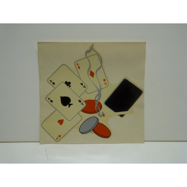 """This is a Vintage Decal / Wall Decoration -- Titled """"Poker Night"""" -- No. 232 -- By The Meyercord Company -- Chicago,..."""