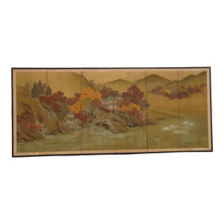 Vintage Oriental Asian Six Panel Screen Picture Mountain and River Scene For Sale