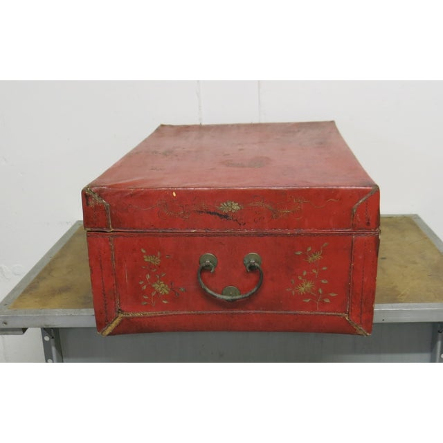 Leather Antique Chinese Leather Trunk For Sale - Image 7 of 13