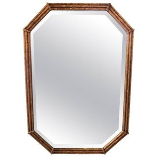 Midcentury Octagonal Gold Giltwood 'Bamboo' Wall Mirror For Sale