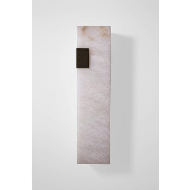 Orphan Work Modern Contemporary 003-1c Sconce in Blackened Brass and Alabaster by Orphan Work For Sale - Image 4 of 5