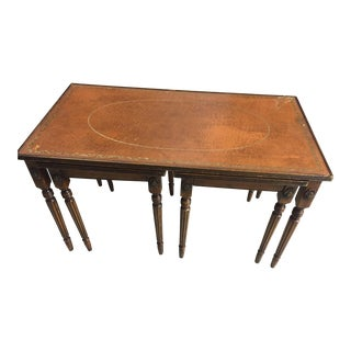 19th Century Traditional Leather Top Cocktail Table With 2 Nested Side Tables - 3 Pieces For Sale