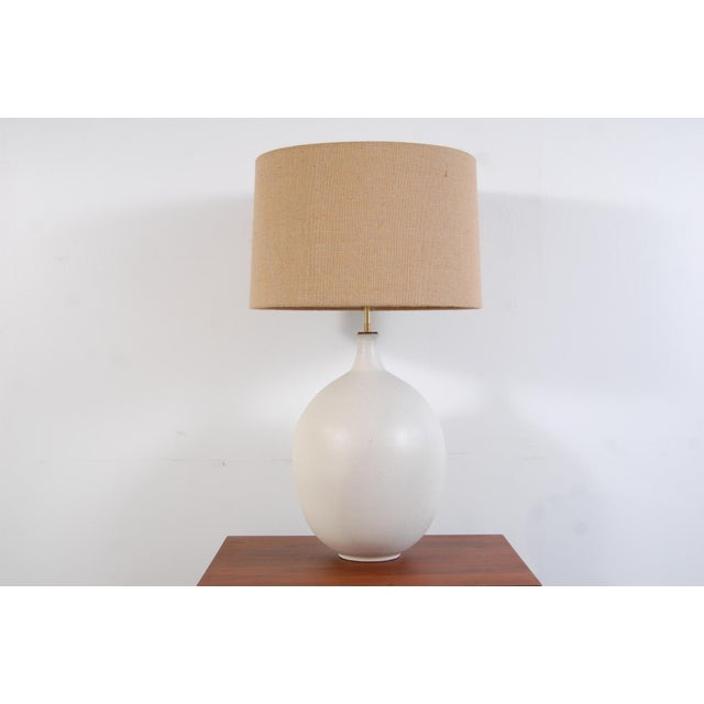 Contemporary Bulbous Form Design Technics Pottery Lamp For Sale - Image 3 of 8