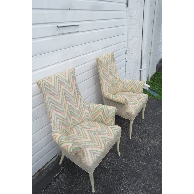 Antique White Vintage Painted Tall Pair of Living BedRoom Fireplace Side Chairs For Sale - Image 8 of 13