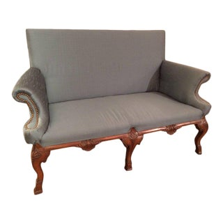 Elegant Carved Walnut and Silk Antique Loveseat Settee For Sale